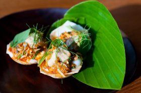 An hors d'oeuvre at nahm, an upscale Thai restaurant in Bangkok. Image by Austin Bush