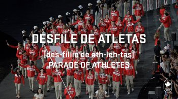 Desfile de atletas, phonetic and translation