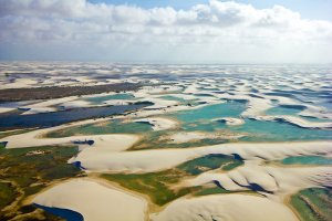 Lençóis Maranhenses National Park from the air.