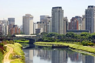 View of river and buildilng in Sao Paulo Brazil